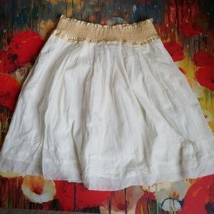 Odille Anthro White Lace Prairie Skirt Size M